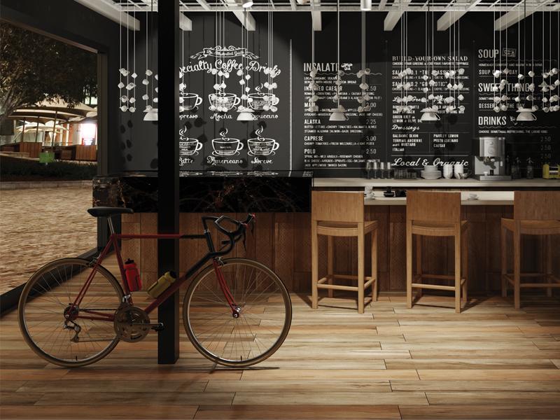 gạch giả gỗ ốp quán cafe