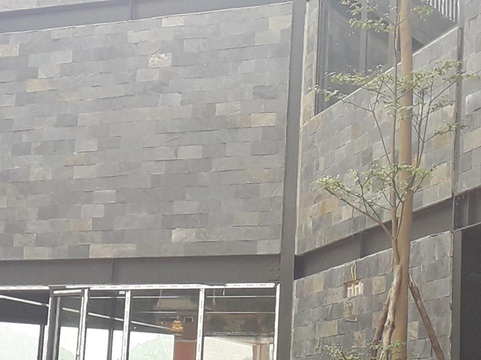 Đá đen ghi lai châu ốp tường
